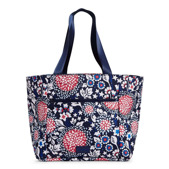 Drawstring Family Tote Bag-Red White & Blossoms-Image 1-Vera Bradley