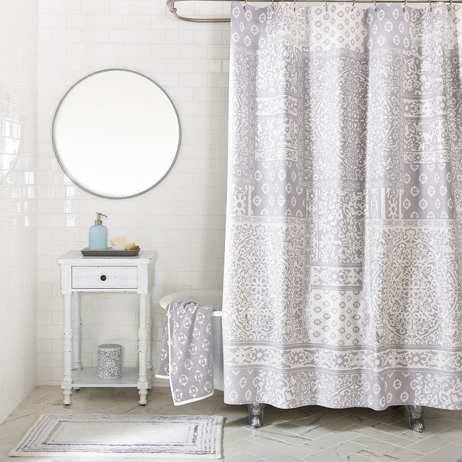 Regal Tapestry Shower Curtain-Rhino Gray-Image 1-Vera Bradley