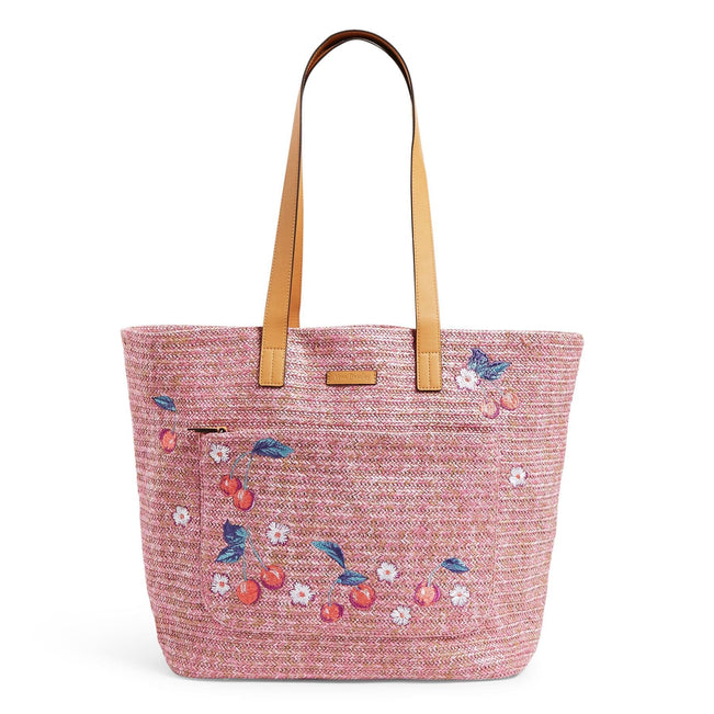 Front Pocket Straw Tote Bag-Pink Cherry-Image 1-Vera Bradley