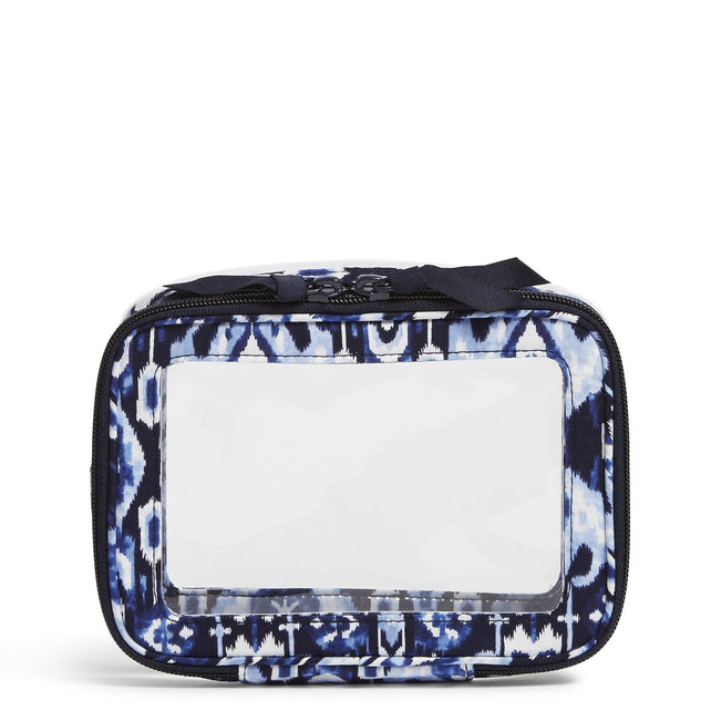 Clear Zip-Around Cosmetic Bag-Ikat Island-Image 1-Vera Bradley