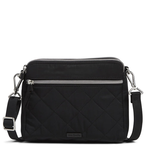 RFID Medium Triple Compartment Crossbody Bag-Performance Twill Black-Image 1-Vera Bradley