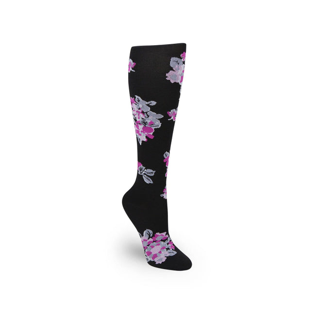 Tossed Posies Black Compression Sock-Black-Image 1-Vera Bradley