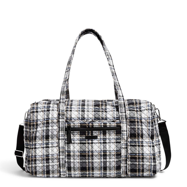 Large Travel Duffel Bag-Cozy Plaid Neutral-Image 1-Vera Bradley