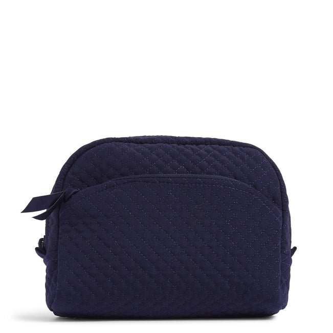 Medium Cosmetic Bag-Microfiber Classic Navy-Image 1-Vera Bradley
