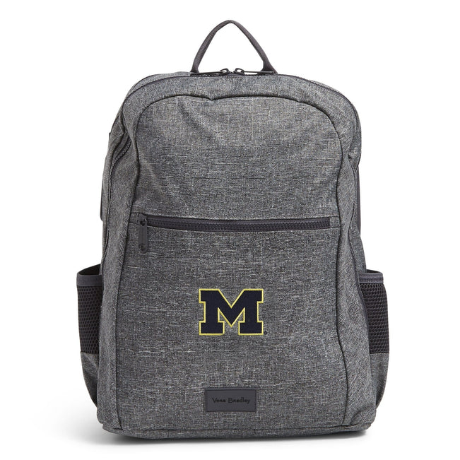 Grand Backpack-Gray Heather with University of Michigan-Image 1-Vera Bradley