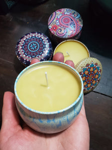 Vintage Tin Beeswax Candle