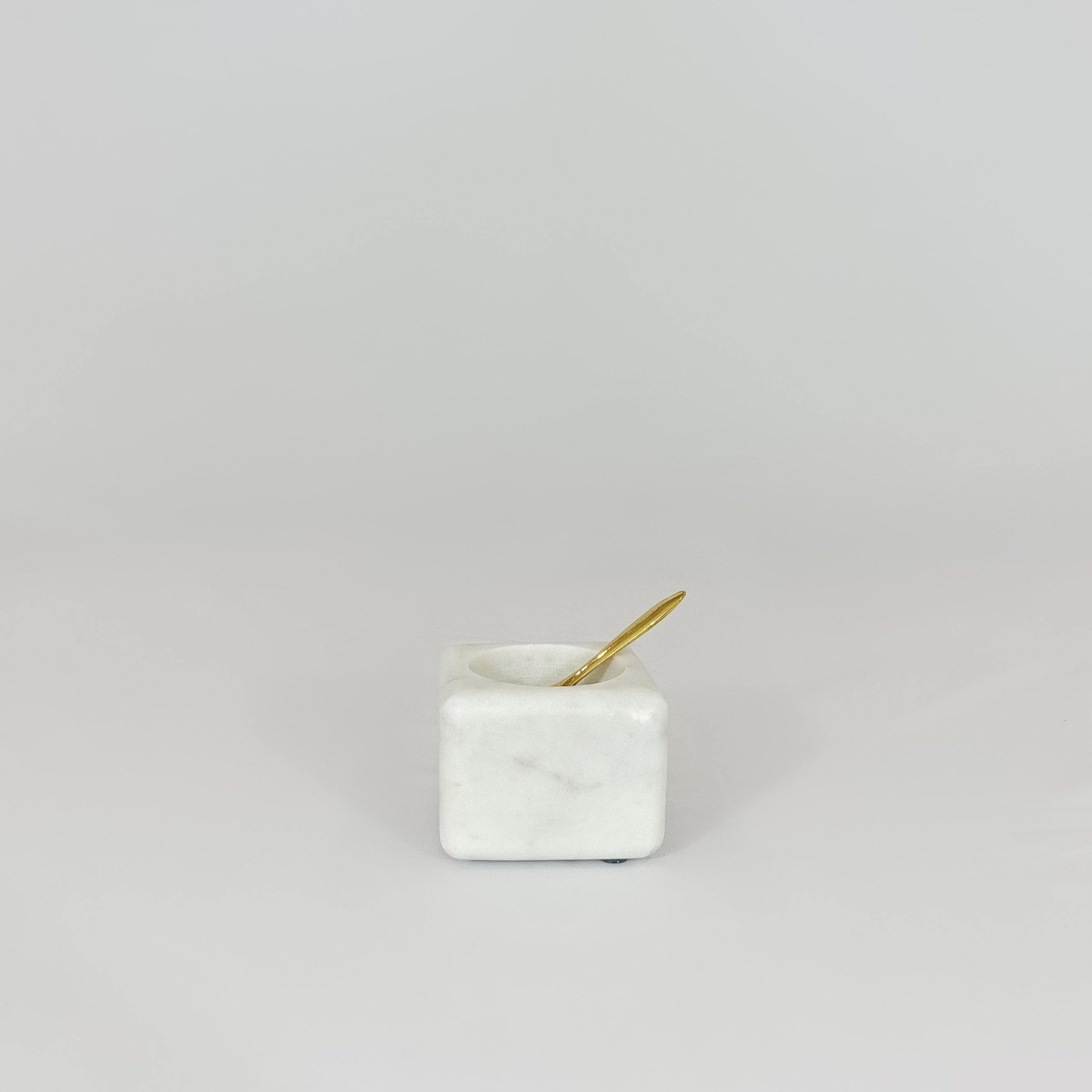 White Marble Salt Cellar With Brass Spoon