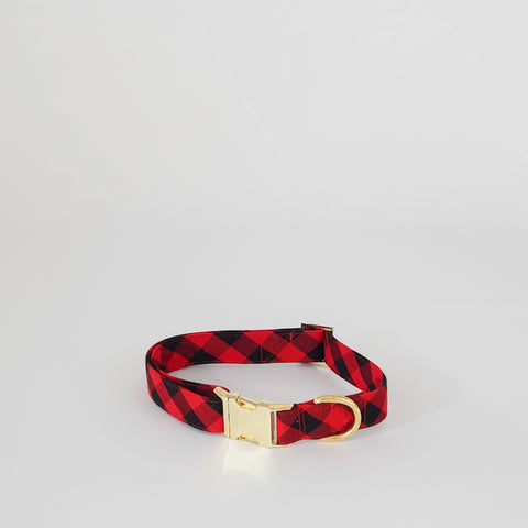 Red and Black Buffalo Check Dog Collar