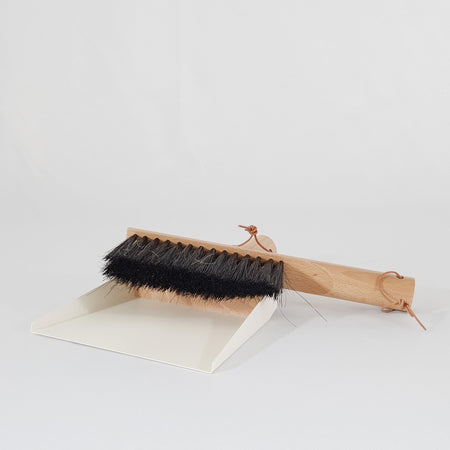 Dust pan and brush - white