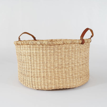 Basket with Leather Handles