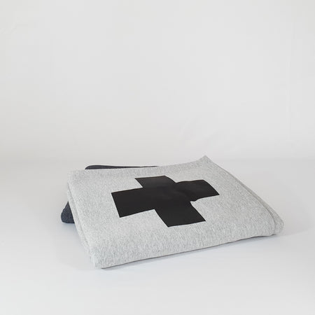 Heather Gray Swiss Cross Sweatshirt Blanket