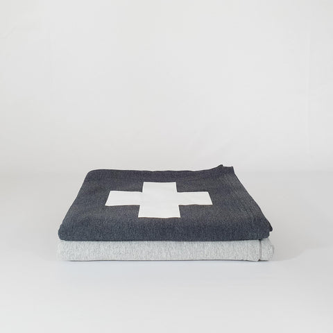 Charcoal Swiss Cross Sweatshirt Blanket