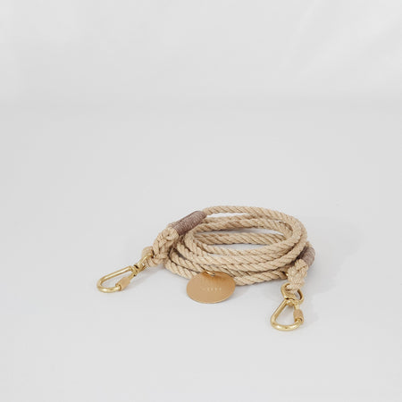Adjustable Light Tan Rope Dog Leash