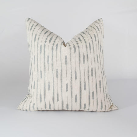 Blue Ikat Striped Pillow