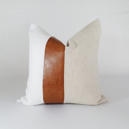 Leather and Linen Striped Pillow