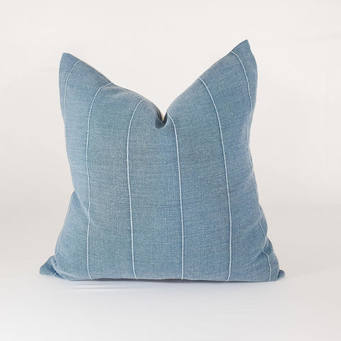Blue Cotton Stripe Pillow