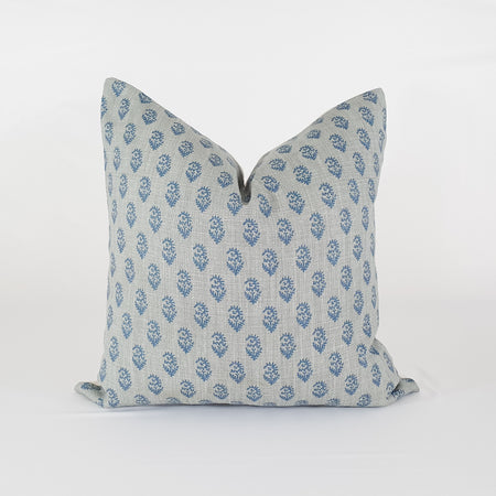 Indigo and Grey Floral Pillow