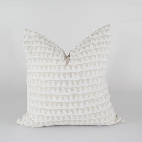 Linen and White Hand Block Printed Pillow