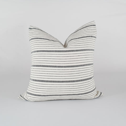 White and Grey Striped Pillow Cover