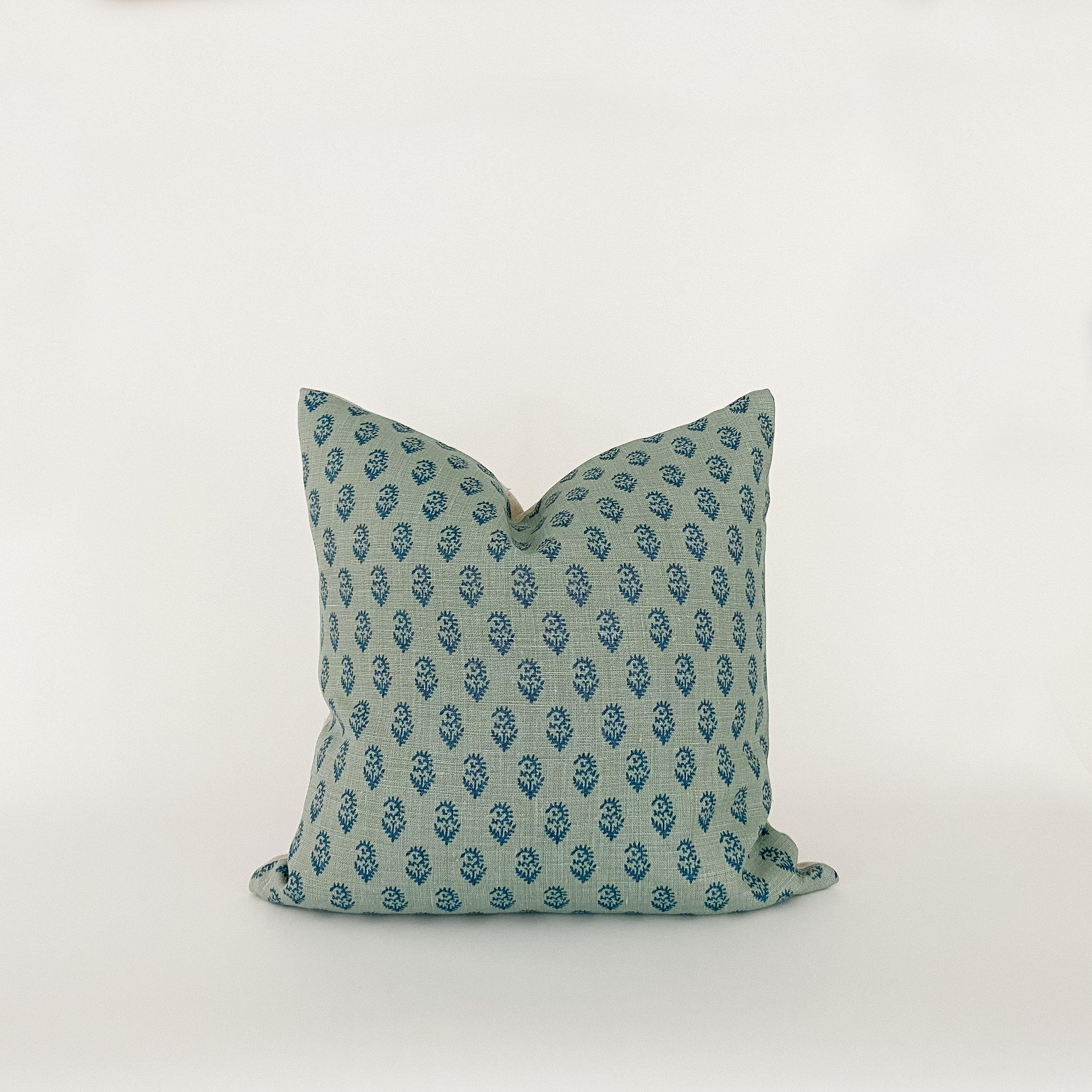 Blue Floral Pillow - KM Home
