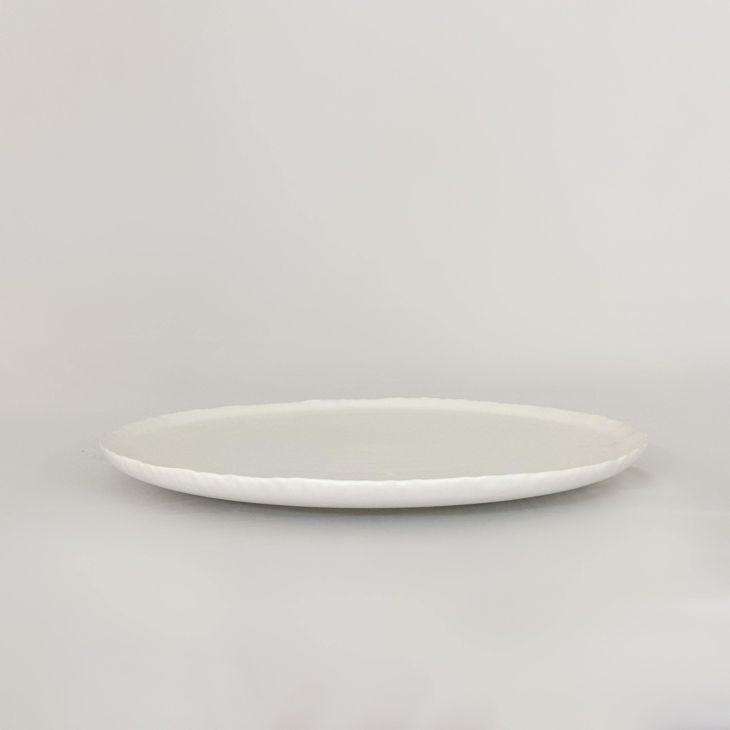 Matte White Platter with Deckled Edge - KM Home