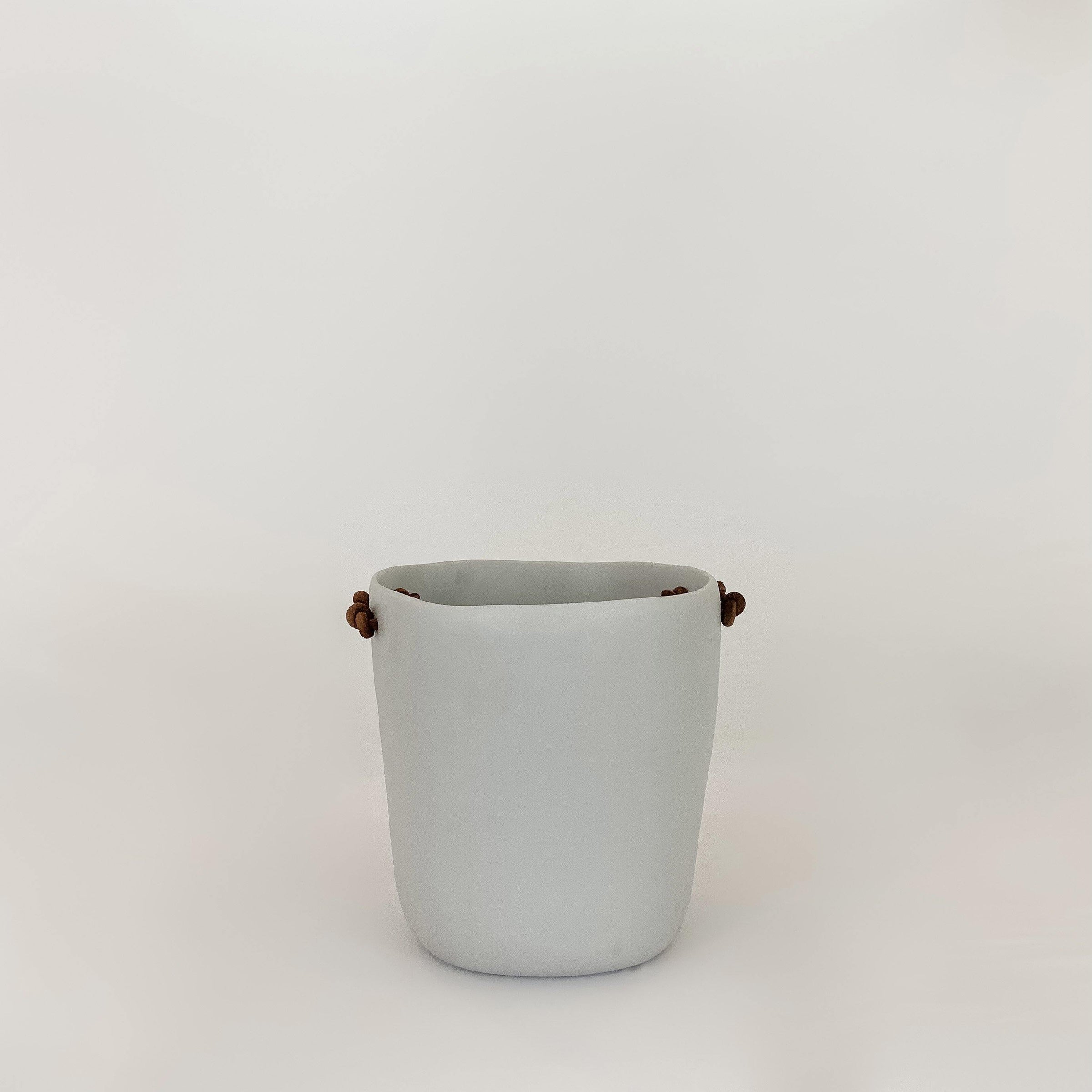 Champagne Bucket with Leather Handles - Cement