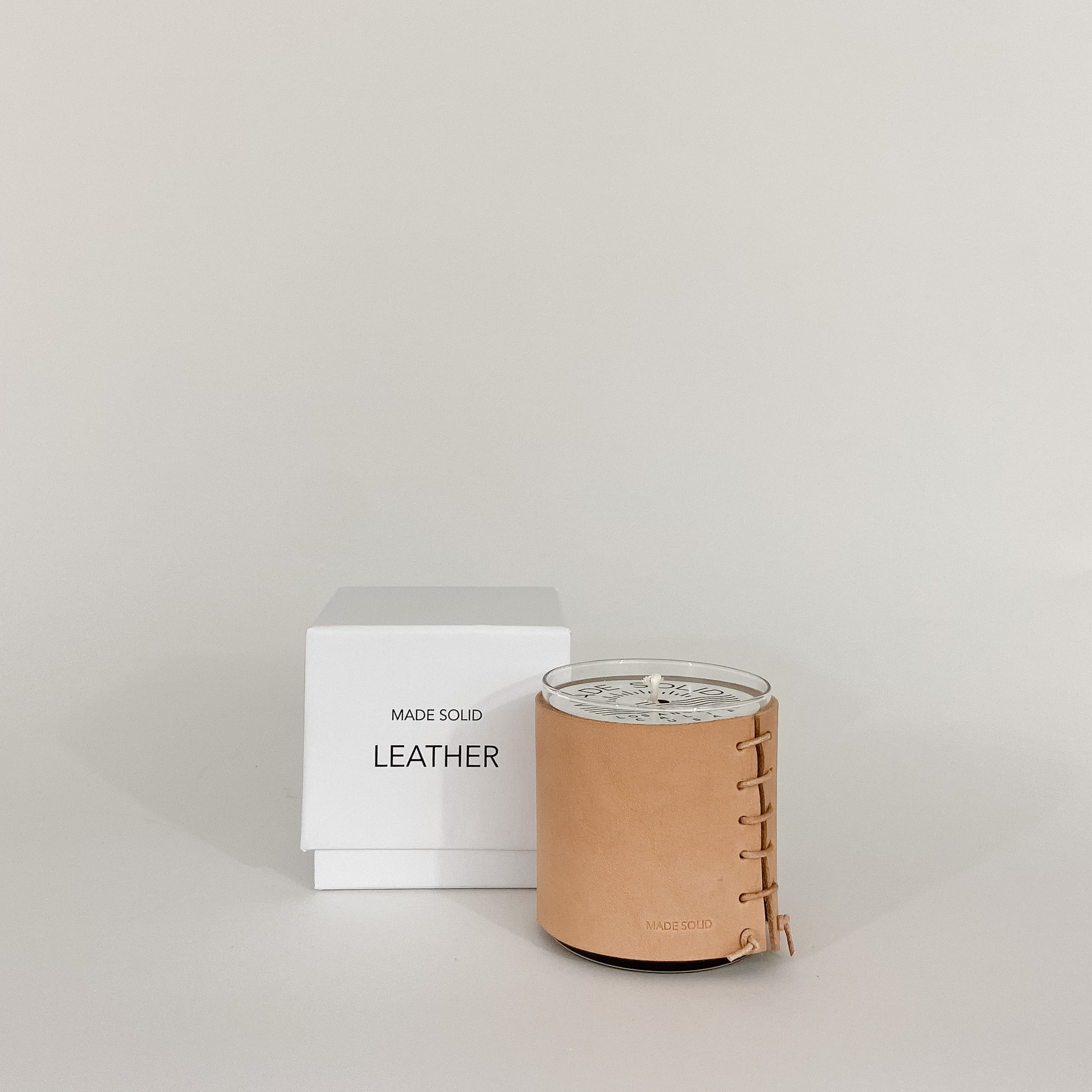 Leather Wrapped Candle