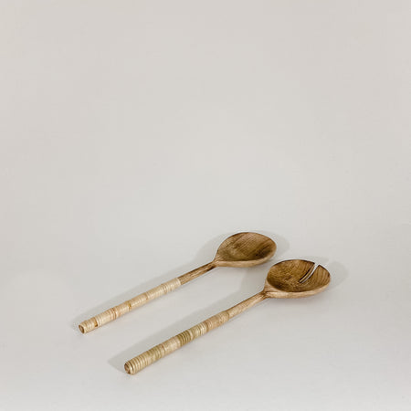 Wood Salad Servers with Bamboo Wrapped Handles