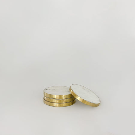 Marble and Brass Coasters - set of 4