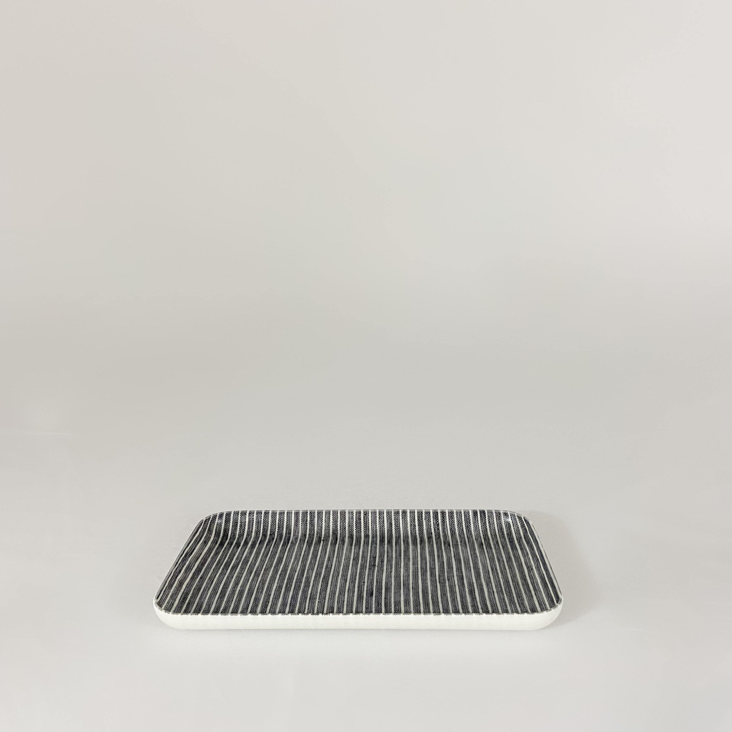 Linen Tray, Grey & White Stripe, Small