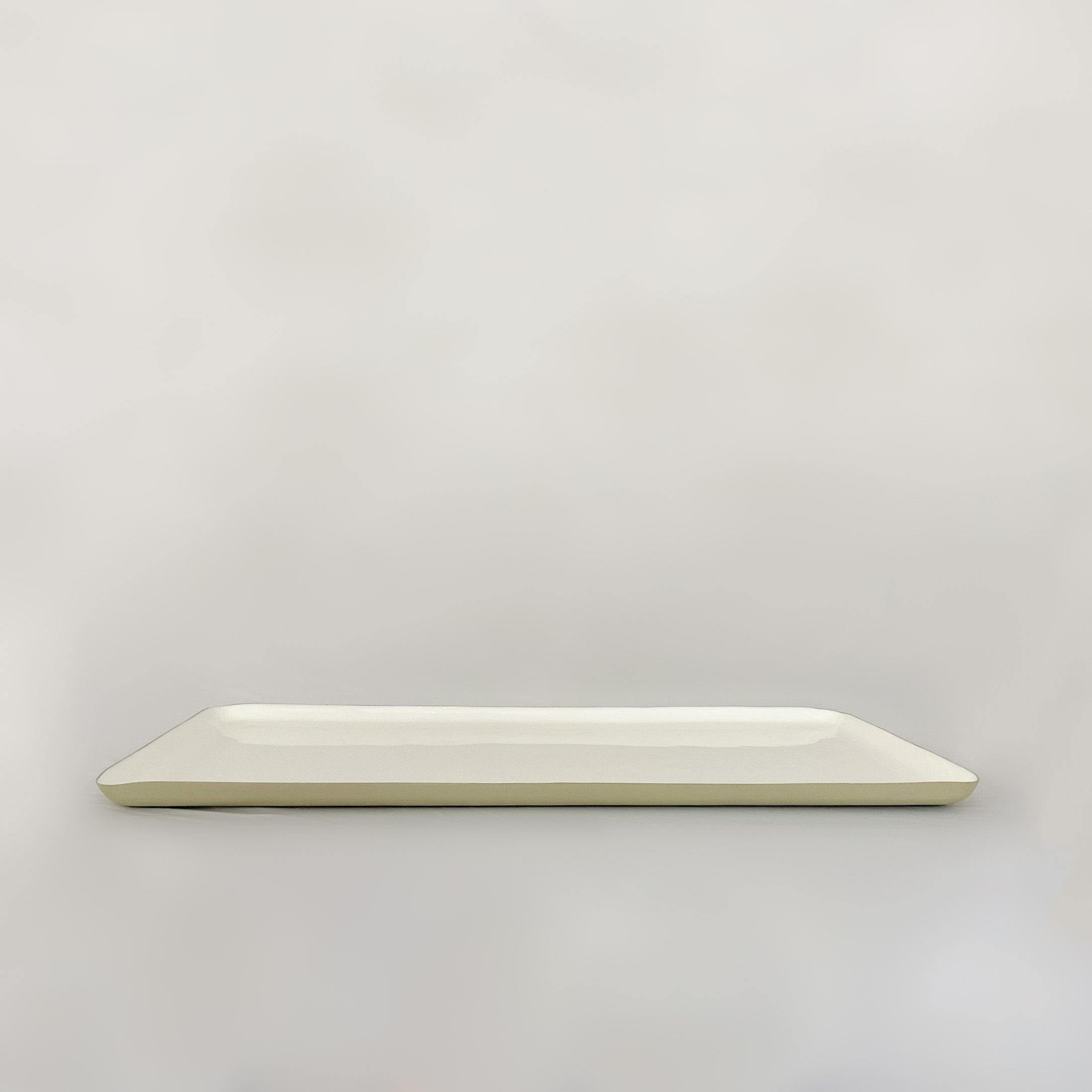 Oversized Rectangular Enamel Platter, Dove