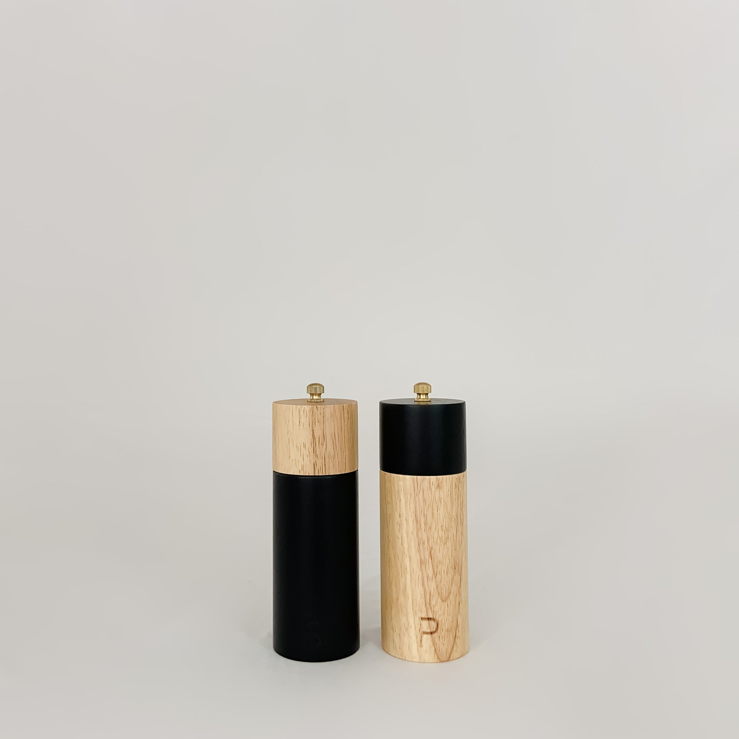 Two-Tone Rubber Wood Salt & Pepper Mills, Black & Natural
