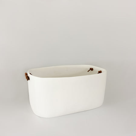 Large Champagne Bucket with Leather Handles, white
