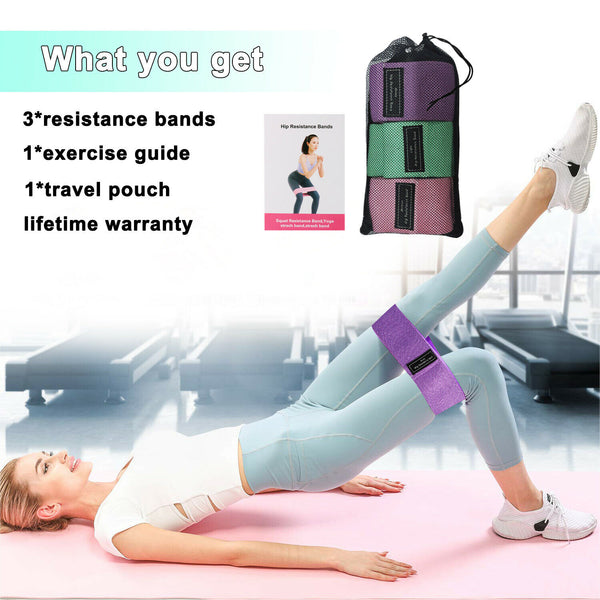 HRband™ Hip Resistance Band Workout for Fitness Yoga Pilates Legs Workout Stretching Training ( 3 Set)