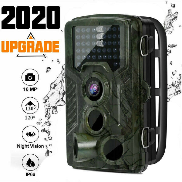 Trail Camera 16MP IP66 Waterproof Outdoor Hunting Cam with IR Led Night Vision