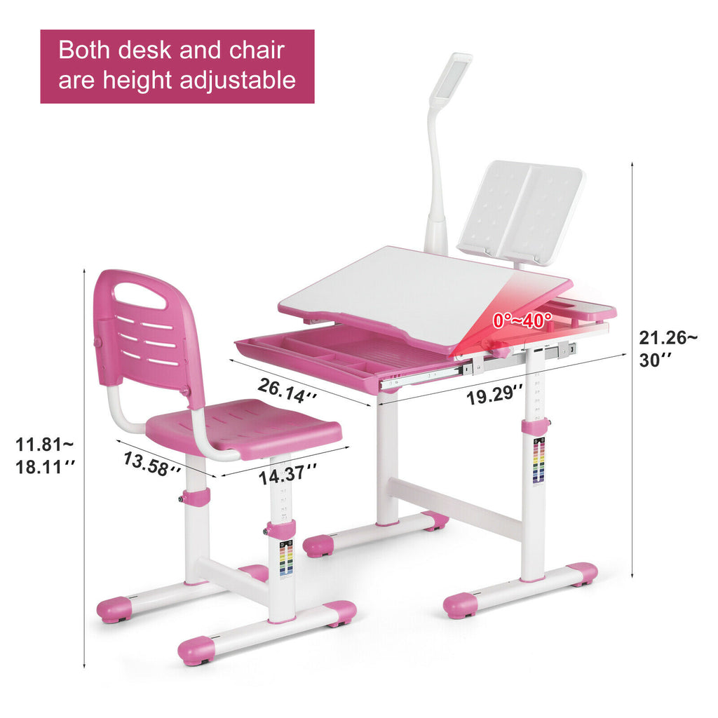 Height Adjustable Kids Study Desk Chair Set Children Table With Lamp and Drawer