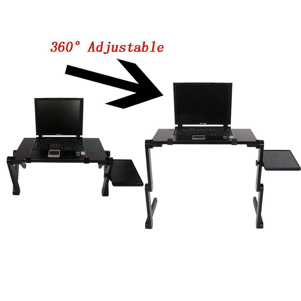 Folding Lap Desk Portable Computer Laptop Stand Table Standing Bed Desk+Cooling Fan