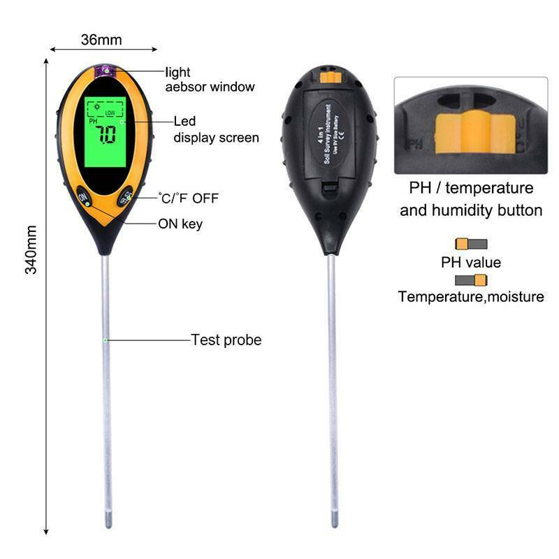 Digital PH Meter Tester Soil Moisture Temperature Sunlight Tester 4-in-1 LCD