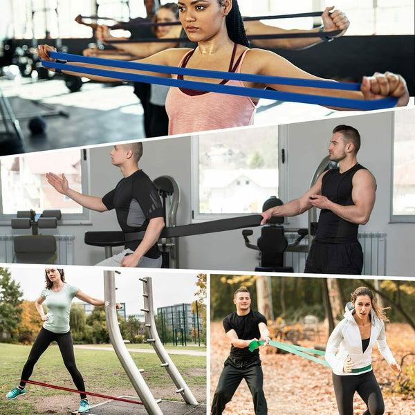 Heavy Duty Exercise Bands Latex Resistance Fitness Gym Training Assist Band 4Pcs