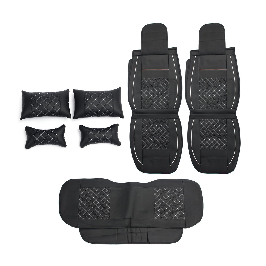 Leather Car Seat Covers Universal Protector with Pillow Waist Cushion Set PU