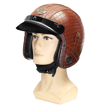 Leather  Motorcycle Alligator skin Helmet