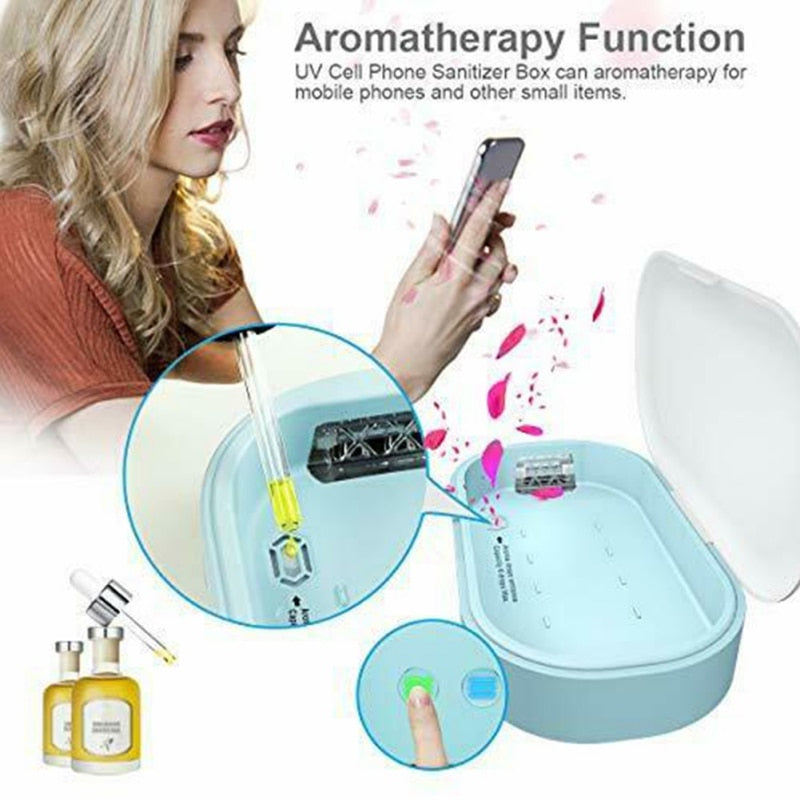 JRMT™ UV Phone Sterilizer Box Sanitizer Disinfection with Aromatherapy