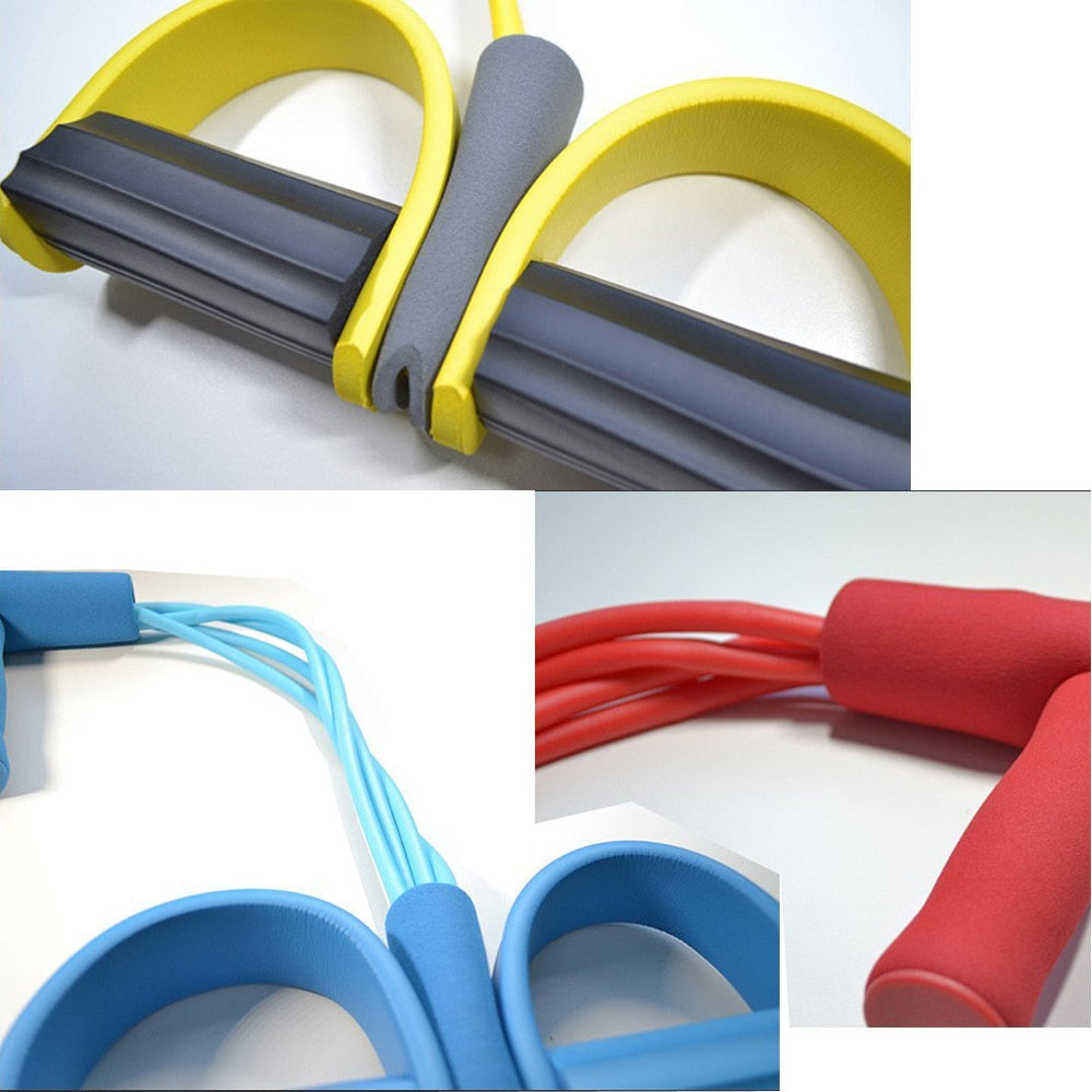 Fitness Gum 4 Tube Resistance Bands Exerciser Pull Rope Expander Elastic Bands Yoga Pilates Workout