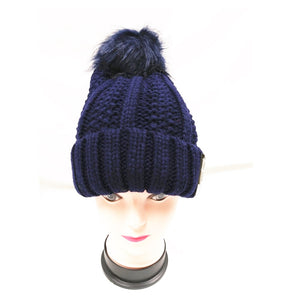 Winter Knitted Hat with Faux Fur Pom blue