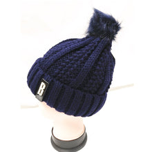 Load image into Gallery viewer, Winter Knitted Hat with Faux Fur Pom blue