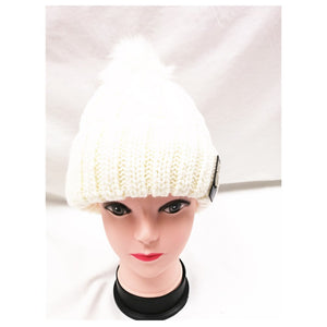 Winter Knitted Hat with Faux Fur Pom white