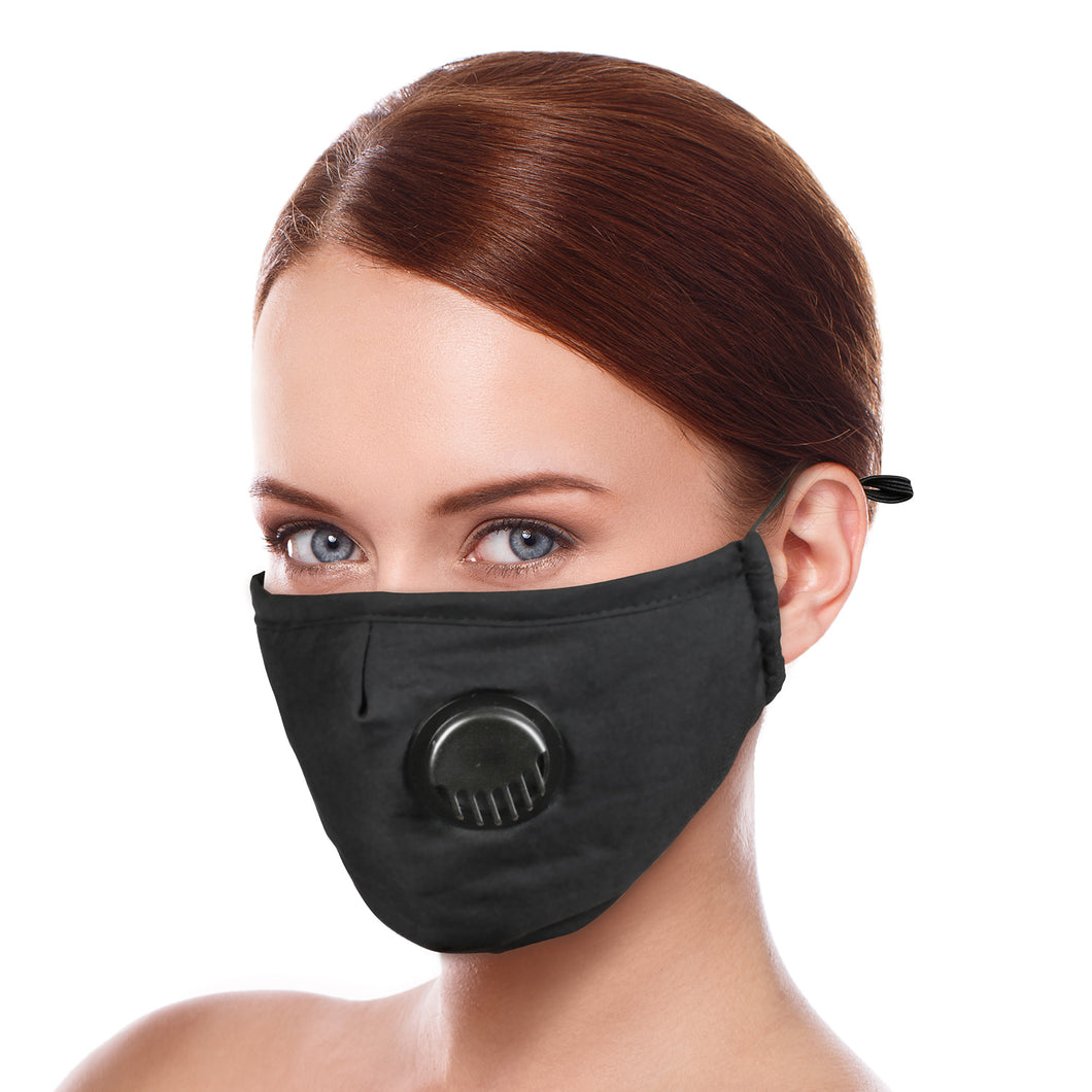 4 Pack Adult Unisex Adjustable Washable mask with Breathing Valve Cotton Cloth  with 10 Carbon Filters free