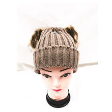 Load image into Gallery viewer, Winter Knitted Hat with Faux Fur Pom Pom brown
