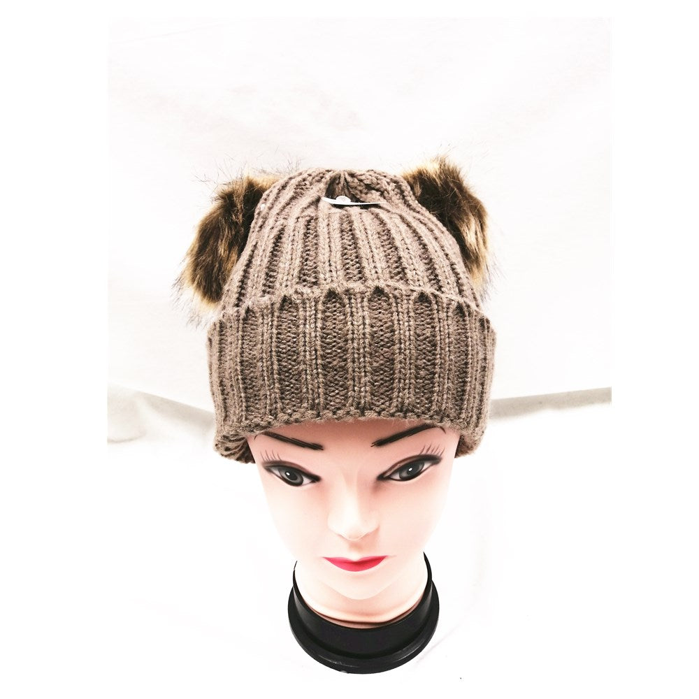 Winter Knitted Hat with Faux Fur Pom Pom brown