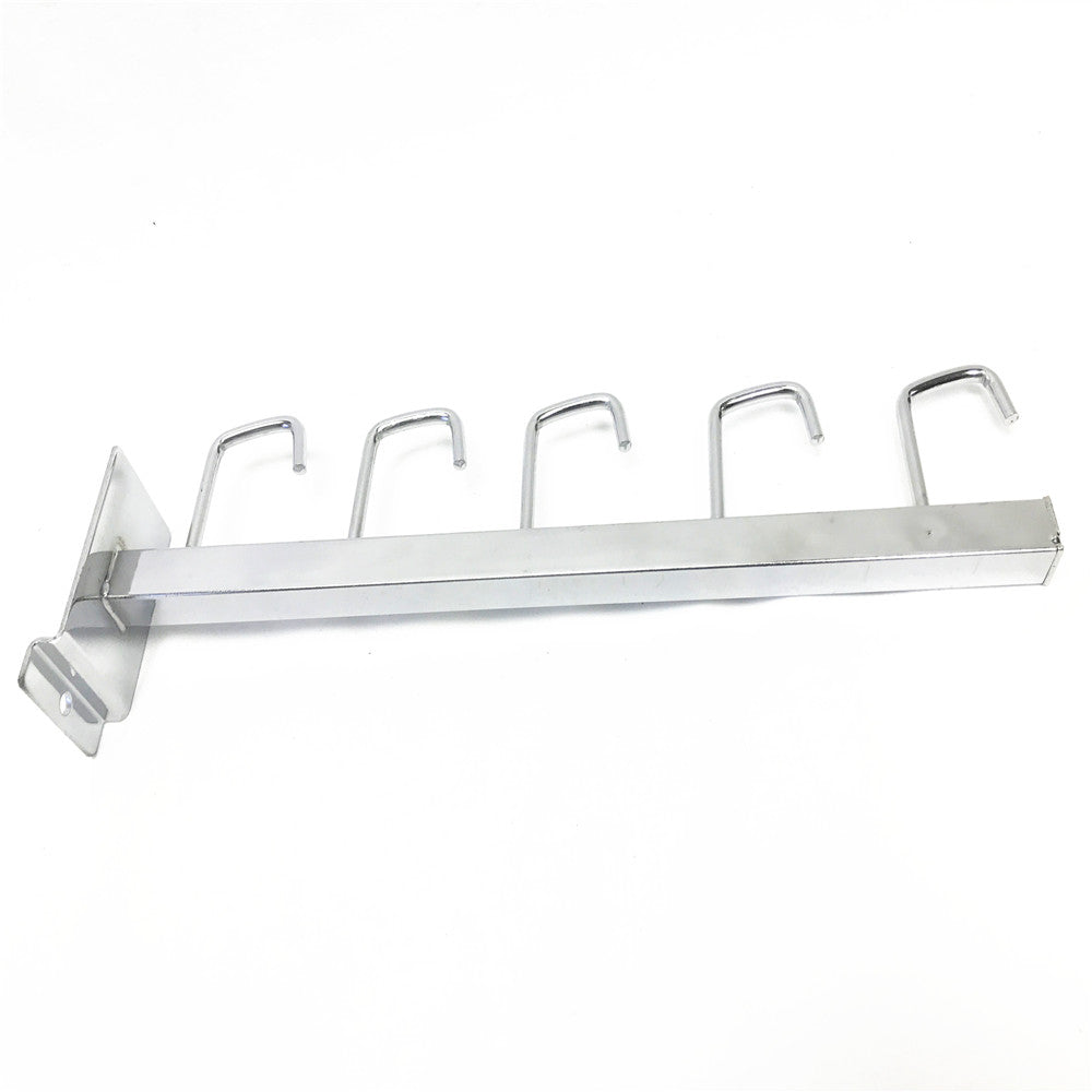 5 HOOK STRAIGHT ARM SLATWALL DISPLAY CHROME 15